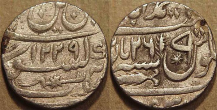 World Coins - INDIA, AWADH: Silver rupee in name of Shah Alam II, Lucknow, AH 1229, RY 26. CHOICE+!