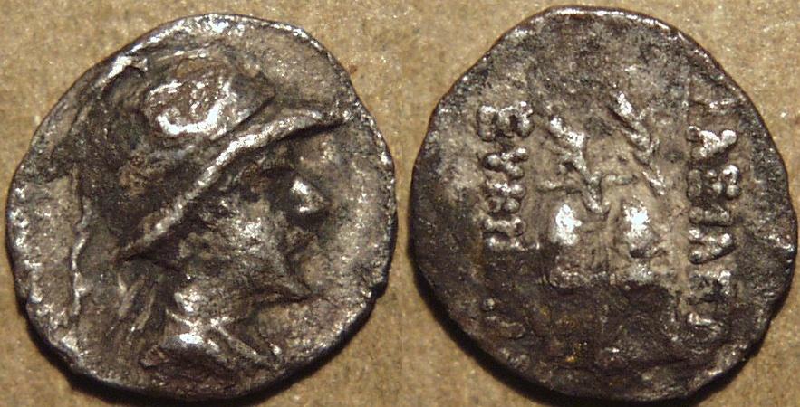 Ancient Coins - BACTRIA, Eukratides (Eucratides) AR obol, helmeted type. SCARCE!
