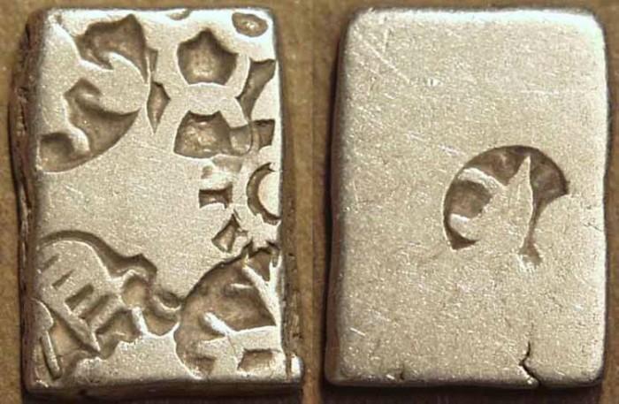 Ancient Coins - INDIA, MAURYA: Series VIb Silver punchmarked karshapana, GH 573. SUPERB!