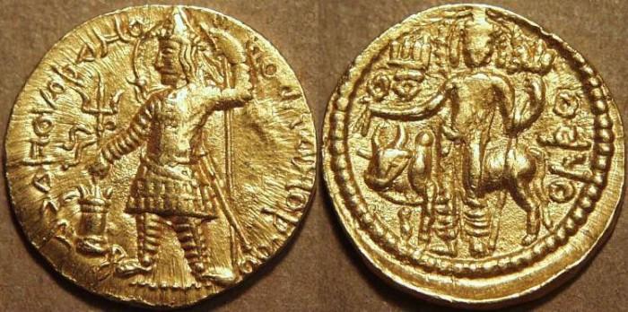Ancient Coins - INDIA, Kushan: Vasudeva I Gold dinar, long-haired type. UNPUBLISHED!