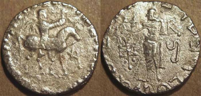 Ancient Coins - INDO-SCYTHIAN, AZES II Silver tetradrachm, Zeus left type, Senior 105.811.