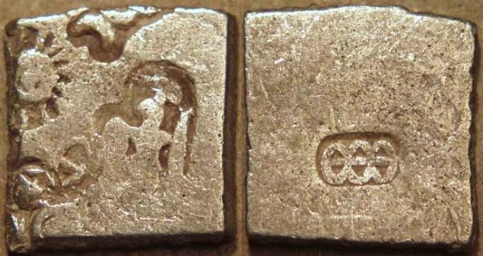 Ancient Coins - INDIA, MAURYA: Series VIb Silver punchmarked karshapana, GH 566