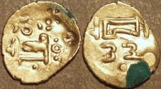 Ancient Coins - INDIA, EASTERN GANGAS, temp. Bhanudeva III (1352-78) Gold fanam, Year 23. RARE & SUPERB!