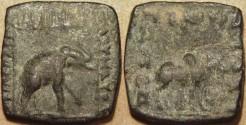 Ancient Coins - INDO-SCYTHIAN: Maues AE hemi-obol, elephant/bull. VERY RARE!