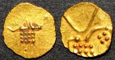 Ancient Coins - INDIA, HOYSALA: Anonymous Gold fanam or hana, Vira Raya type. SCARCE & SUPERB!
