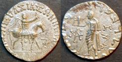 Ancient Coins - INDO-SCYTHIAN, AZES II Silver tetradrachm, Zeus left type, Senior 105.340. CHOICE!