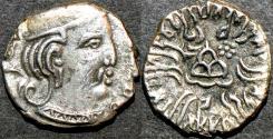 Ancient Coins - INDIA, WESTERN KSHATRAPAS: Rudrasena III (348-378 CE) Silver drachm, year S. 28x. CHOICE!