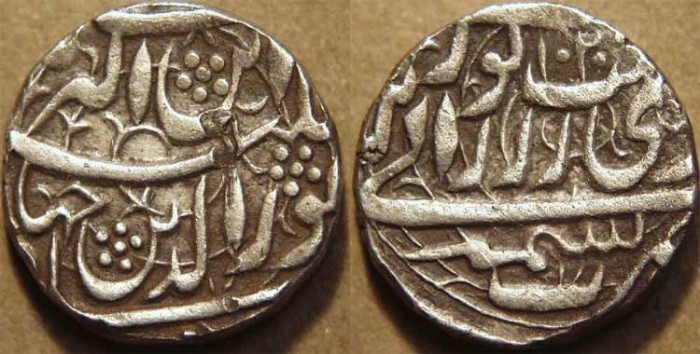 World Coins - INDIA, MUGHAL, Jahangir: Silver heavy rupee (Jahangiri), Kashmir, AH 1020. SCARCE and CHOICE!