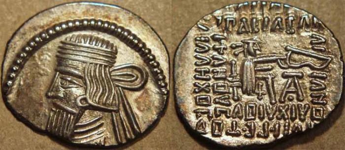 Ancient Coins - PARTHIA, GOTARZES II (40-51 CE) Silver drachm, Ecbatana, Sell 65.33. SUPERB!