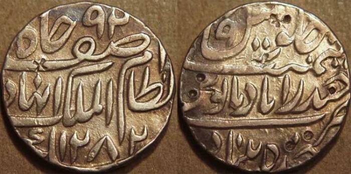 World Coins - INDIA, HYDERABAD, Afzal ad-Daula (1857-69) Silver rupee ino Asaf Jah, Hyderabad, AH 1282, RY 9. CHOICE++!