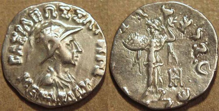 Ancient Coins - INDO-GREEK: Menander I Silver drachm, helmeted type. CHOICE!