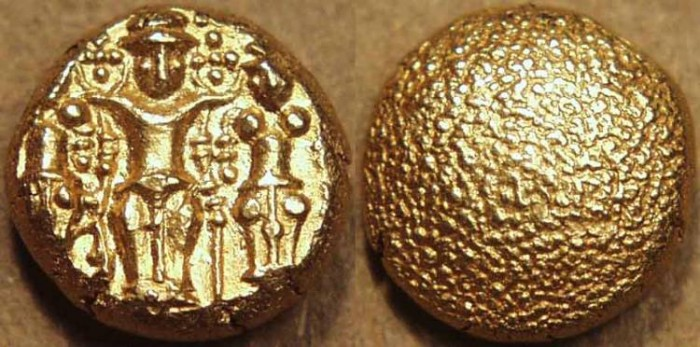 """Ancient Coins - BRITISH INDIA, Madras Presidency: (c. 1691-1740) Gold """"3-swami"""" pagoda, early type. SCARCE+SUPERB!"""