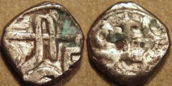 Ancient Coins - INDIA, Vijayanagar: Hari Hara II Silver 10-rattis, Goa region type. RARE + CHOICE!