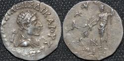 Ancient Coins - INDIA, INDO-GREEK: Heliokles II Silver tetradrachm: Diademed bare-headed bust type. SCARCE & CHOICE!
