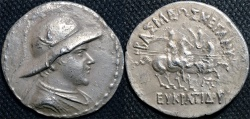 Ancient Coins - BACTRIA, Eukratides (Eucratides) AR tetradrachm, helmeted type. BARGAIN-PRICED!