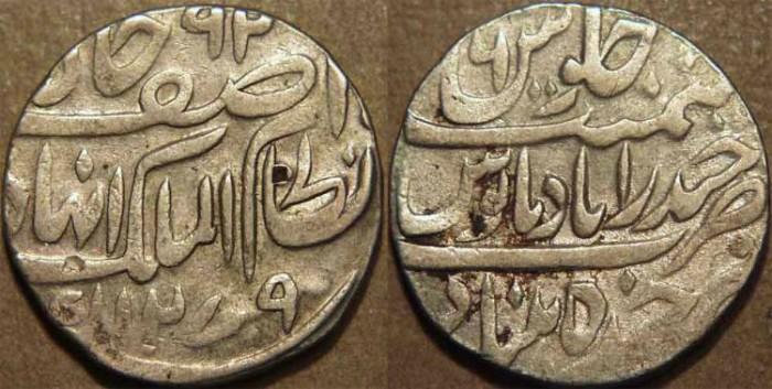 World Coins - INDIA, HYDERABAD, Afzal ad-Daula (1857-69) Silver rupee ino Asaf Jah, Hyderabad, AH 1279, RY 6. CHOICE!