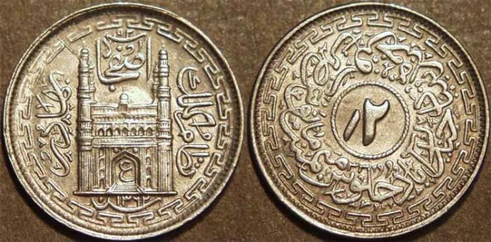 Ancient Coins - INDIA, HYDERABAD, Mir Usman Ali Khan (1911-48) Second Series Silver 2 annas (1/8 rupee), Hyderabad, AH 1362, RY 33. SUPERB!