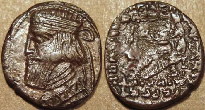 Ancient Coins - PARTHIA, ARTABANOS III (10-38 CE) COPPER drachm, Sell 63 type. VERY RARE & CHOICE!