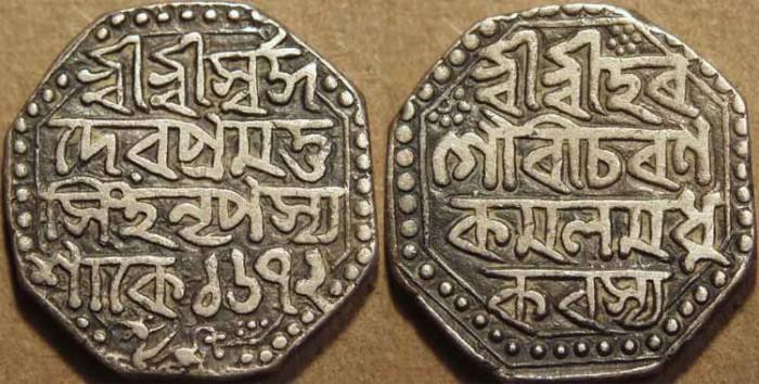Ancient Coins - INDIA, ASSAM: Pramatta Simha Silver octagonal Rupee, dated S.1672. SUPERB!