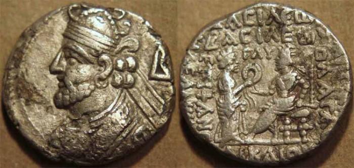 Ancient Coins - PARTHIA, VOLOGASES III (105-147 CE) Silver tetradrachm, Seleucia, Sell 79