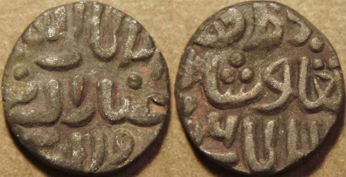 Ancient Coins - INDIA, DELHI SULTANATE, Ghiyath al-din Tughluq (1320-25) Billon 4-gani, dated AH 726 (posthumous).