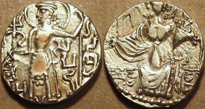 Ancient Coins - INDIA, KUSHAN, GADAKHARA: Gold dinar with Samudra under king's arm. SCARCE!