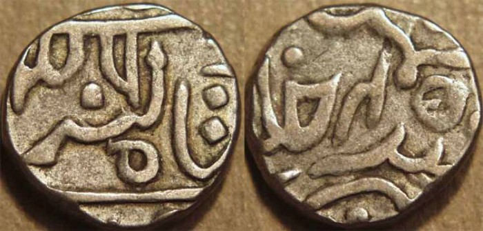 """World Coins - INDIA, PRATAPGARH, Udaya Singh (1864-90) Silver 1/2 rupee in the name of """"Shah of London"""" (Queen Victoria). CHOICE!"""