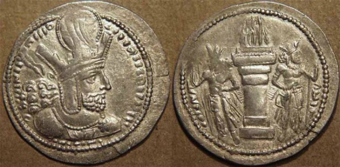 Ancient Coins - SASANIAN: Shapur I (240-271) Silver drachm, SUPERB!