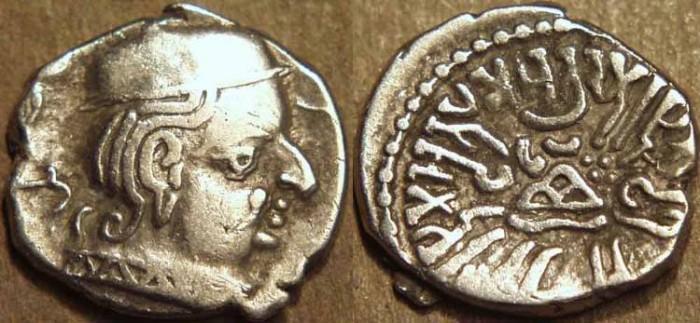 Ancient Coins - INDIA, WESTERN KSHATRAPAS: Bhartrdaman (278-294 CE) Silver drachm, as Mahakshatrapa