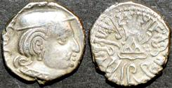 Ancient Coins - INDIA, WESTERN KSHATRAPAS: Rudrasena II (255-278 CE) Silver drachm, year S. 184. CHOICE!