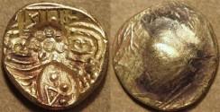 Ancient Coins - INDIA, NOLAMBAS, Nanni Nolamba II (1044-52) punchmarked Gold gadyana (pagoda). EXTREMELY RARE and CHOICE!