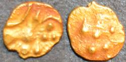 Ancient Coins - INDIA, HOYSALA: Anonymous Gold 1/4 fanam or haga, VERY RARE and CHOICE!