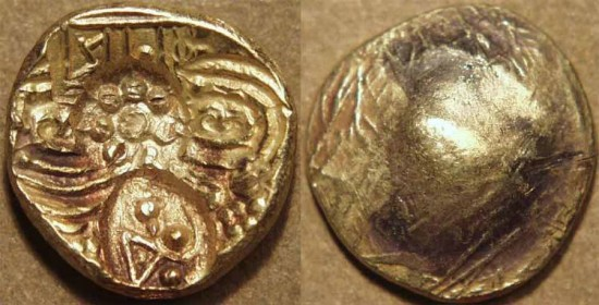 World Coins - INDIA, NOLAMBAS, Nanni Nolamba II (1044-52) punchmarked Gold gadyana (pagoda). EXTREMELY RARE and CHOICE!