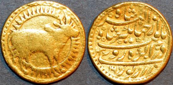 World Coins - INDIA, MUGHAL, Jahangir AV Zodiac mohur, of Taurus, Agra, 1030/16, GREAT RARITY!