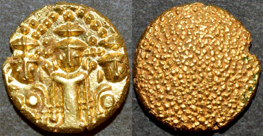 """World Coins - BRITISH INDIA, Madras Presidency: (c. 1740-1807) Gold """"3-swami"""" pagoda, late type. SUPERB!"""