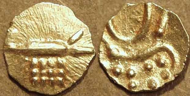"Ancient Coins - INDIA, RAJAHS of COCHIN: Anonymous Gold ""Vira Raya"" fanam. Intermediate type. CHOICE!"