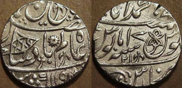 Ancient Coins - BRITISH INDIA, BENGAL PRESIDENCY: Silver rupee in the name of Shah Alam II, Banaras, AH 1193, RY 21. CHOICE+!