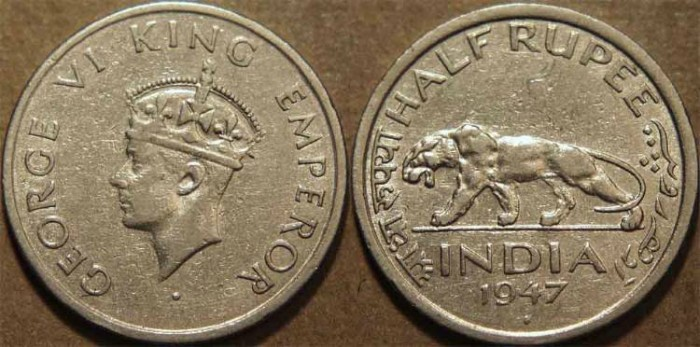 Ancient Coins - BRITISH INDIA, George VI Nickel 1/2 rupee, 1947. CHOICE!