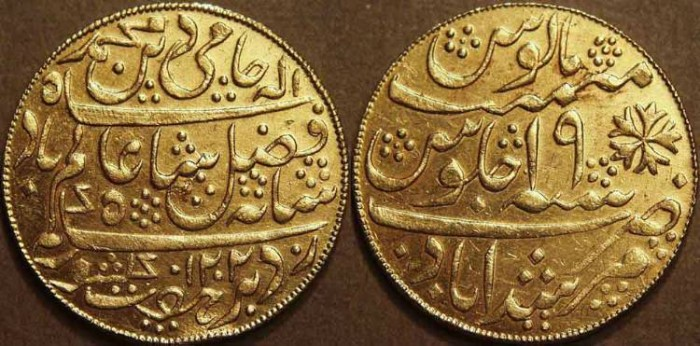 """Ancient Coins - BRITISH INDIA, BENGAL PRESIDENCY: Gold mohur in the name of Shah Alam II (1759-1806), Murshidabad, """"year 19."""" CHOICE!"""