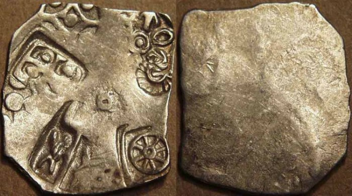 Ancient Coins - INDIA, MAGADHA: Series I AR punchmarked karshapana GH 52. CHOICE!