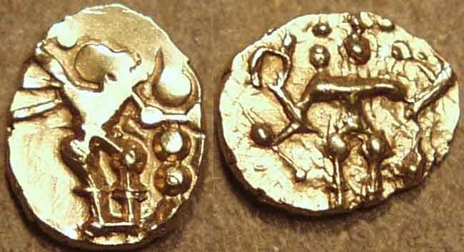 Ancient Coins - INDIA, Hoysalas: Anonymous (c. 12th century) Gold fanam or hana (1/10th gadyana), STANDING Durga. VERY RARE+CHOICE!