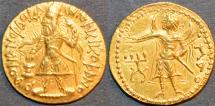 Ancient Coins - INDIA: KUSHAN, Kanishka I Gold dinar, Mao reverse, RARE and SUPERB!