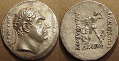 Ancient Coins - BACTRIA: Agathocles (or Agathokles) AR tetradrachm of the Pedigree Series, commemorating Diodotos as Seleucid Satrap. VERY RARE and CHOICE!