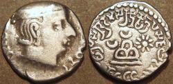 Ancient Coins - INDIA, WESTERN KSHATRAPAS: Rudradaman (c.130-150 CE) Silver drachm,  Legend A. CHOICE!