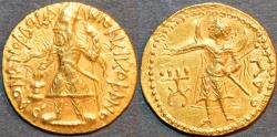 Ancient Coins - INDIA: KUSHAN, Kanishka I Gold dinar, Mao reverse, RARE and SUPERB!
