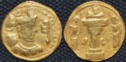 Ancient Coins - INDO-SASANIAN: Shahpur III Gold dinar, Sind mint. RARE and CHOICE!