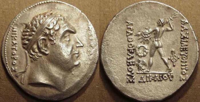 Ancient Coins - BACTRIA: Agathocles (or Agathokles) AR tetradrachm of the Pedigree Series, commemorating Diodotos as Seleucid Satrap. VERY RARE and CHOICE!
