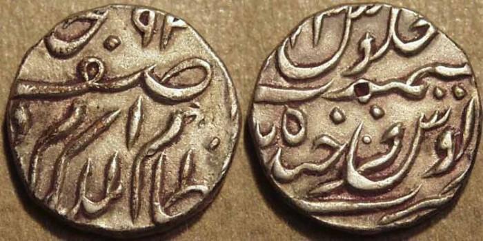 Ancient Coins - INDIA, HYDERABAD, Mir Mahbub Ali Khan (1868-1911) Silver 1/2 rupee ino Asaf Jah, Hyderabad, RY 3. SUPERB!