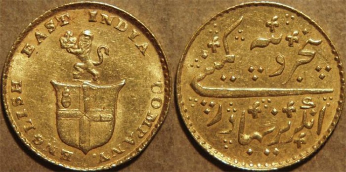 Ancient Coins - BRITISH INDIA, MADRAS PRESIDENCY: Gold 5 rupees (1/3 mohur), issue of 1819. CHOICE!