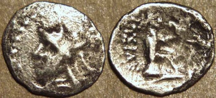 Ancient Coins - PARTHIA, MITHRADATES I (171-138 BCE) Silver obol, Hekatompylos, Sell 9.7. VERY RARE!